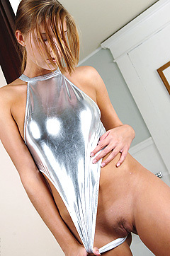 Adrienne Shiny Silver Swimsuit
